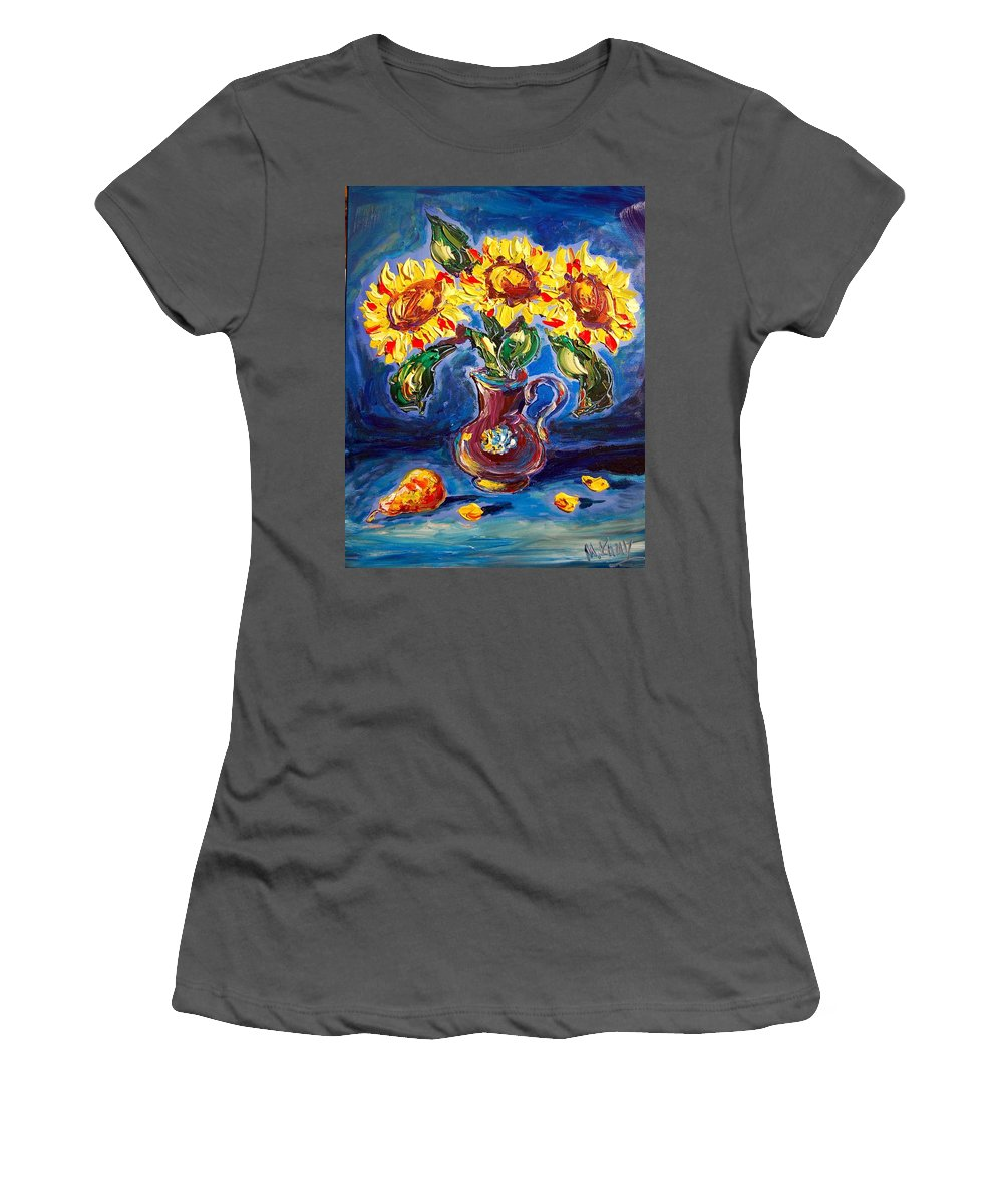 Landscape Framed Prints Women's T-Shirt (Athletic Fit) featuring the painting Sunflowers by Mark Kazav