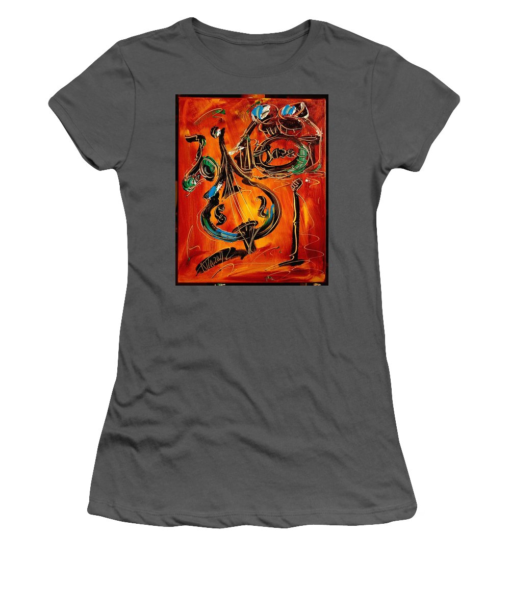 Surreal Framed Prints Women's T-Shirt (Athletic Fit) featuring the painting Jazz by Mark Kazav