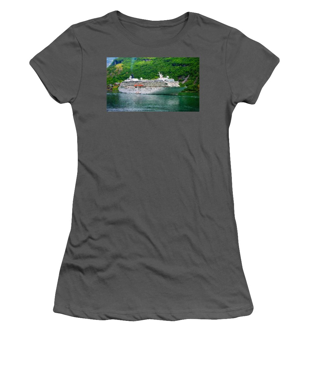 Landscape Women's T-Shirt (Athletic Fit) featuring the painting Landscape Painted by World Map