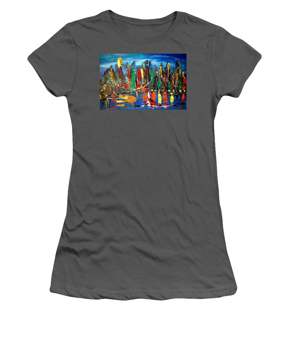 Surreal Framed Prints Women's T-Shirt (Athletic Fit) featuring the painting New York by Mark Kazav