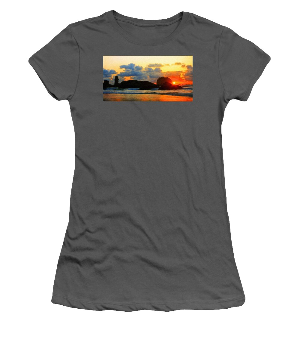 Landscape Women's T-Shirt (Athletic Fit) featuring the painting Nature Landscape Light by World Map