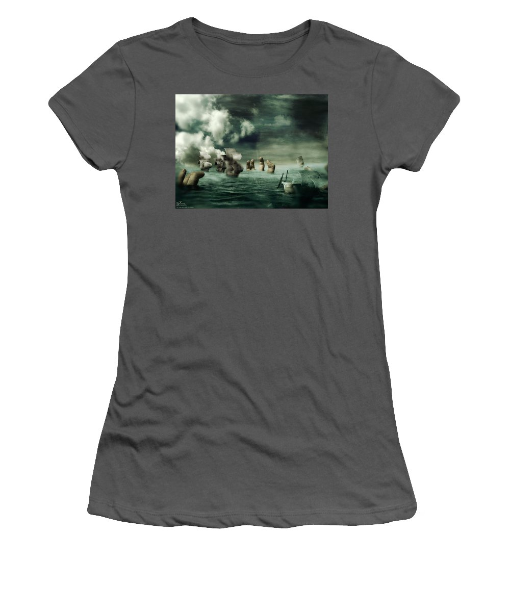 Human Women's T-Shirt (Athletic Fit) featuring the digital art Human by Mery Moon