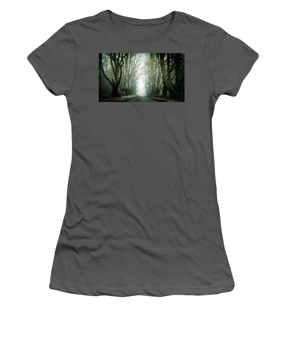 Landscape Women's T-Shirt (Athletic Fit) featuring the painting Landscape Drawing Nature by World Map