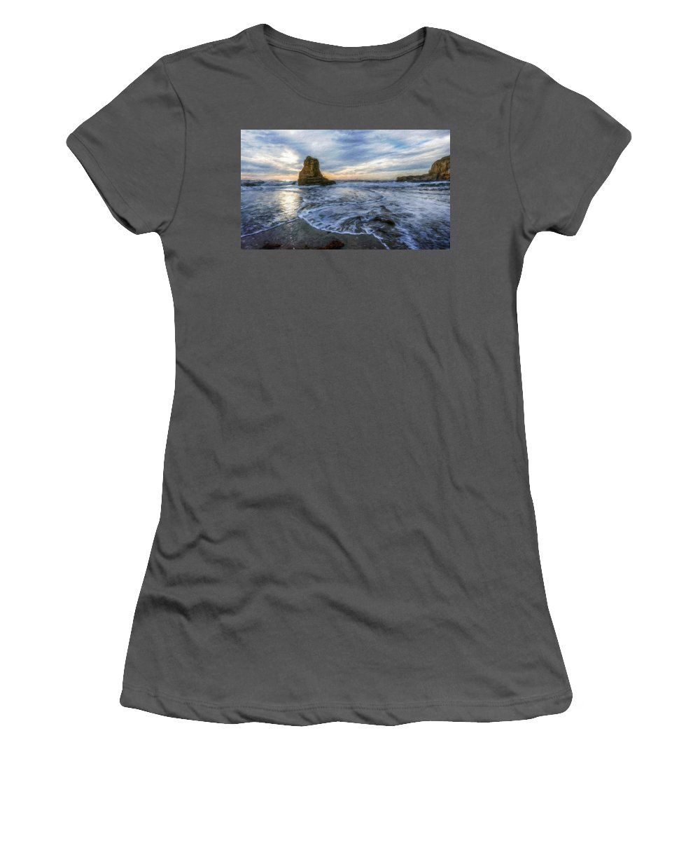 Landscape Women's T-Shirt (Athletic Fit) featuring the painting Nature Landscape Nature by World Map