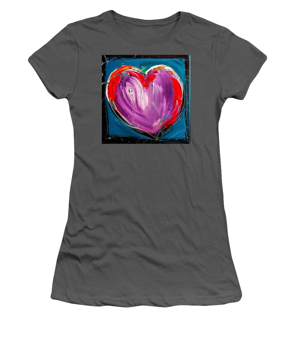 Newyork Women's T-Shirt (Athletic Fit) featuring the painting Heart by Mark Kazav