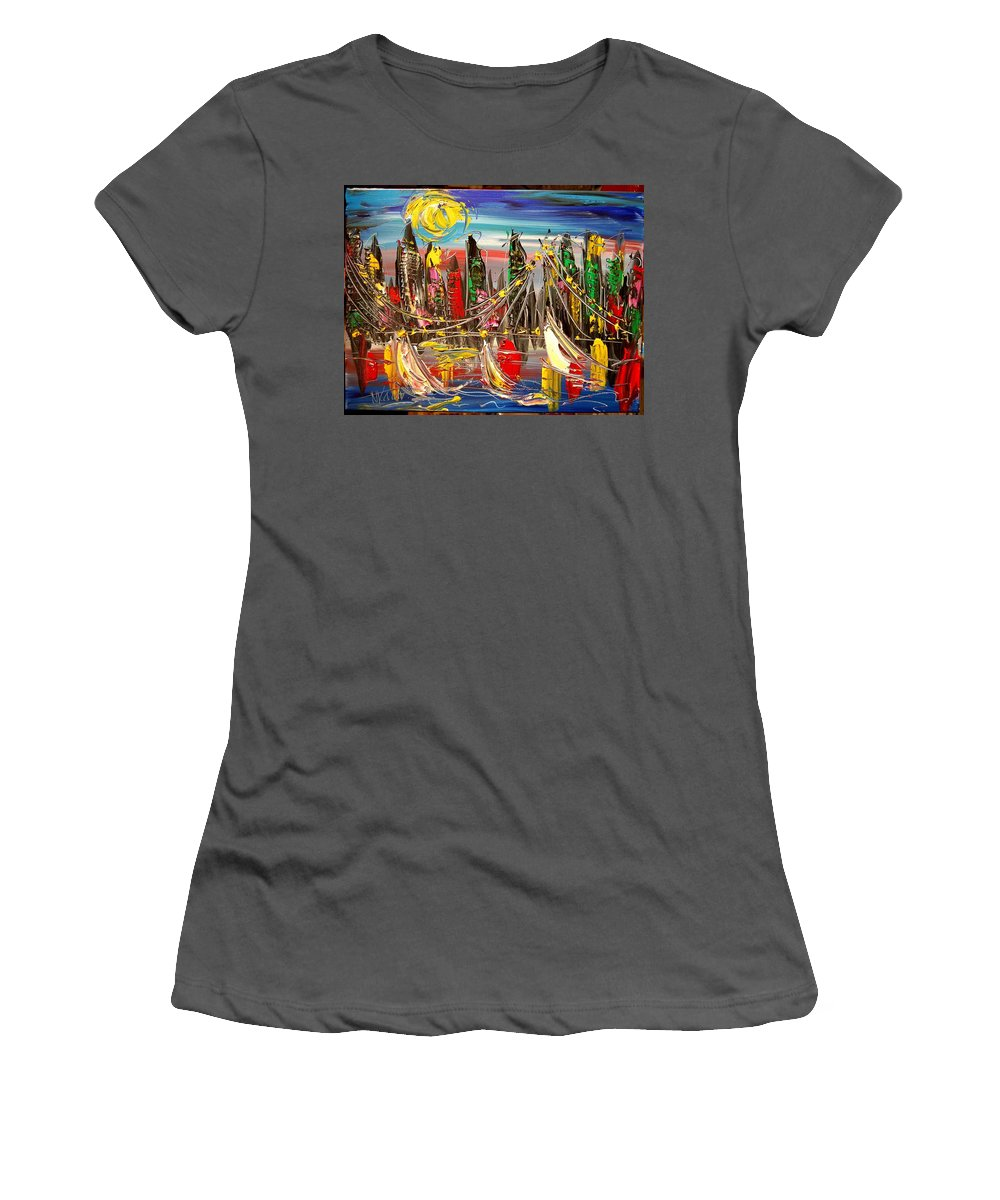 New York Women's T-Shirt (Athletic Fit) featuring the painting New York by Mark Kazav