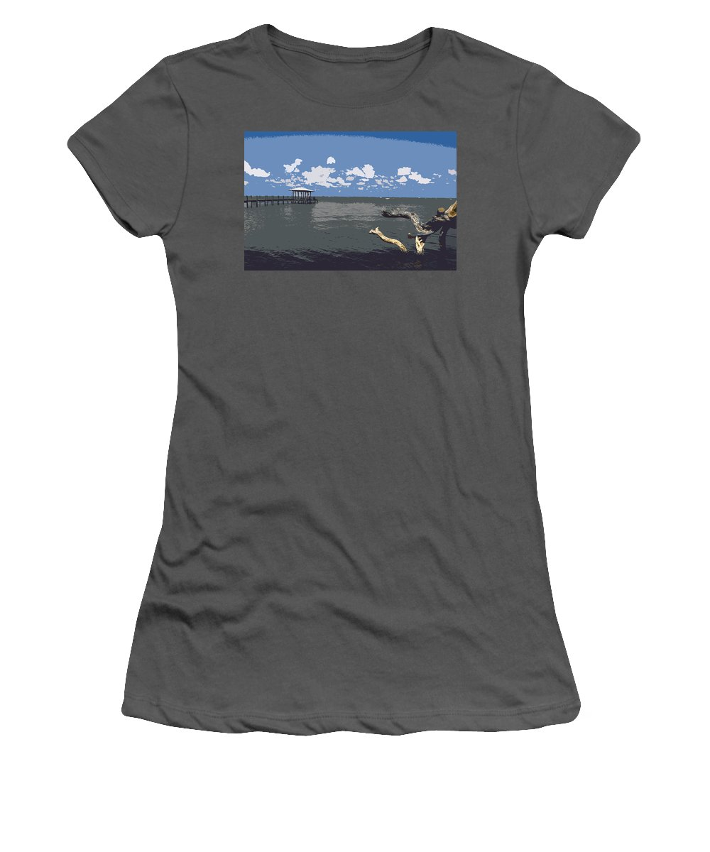 Lagoon Women's T-Shirt (Athletic Fit) featuring the painting Indian River Lagoon by Allan Hughes