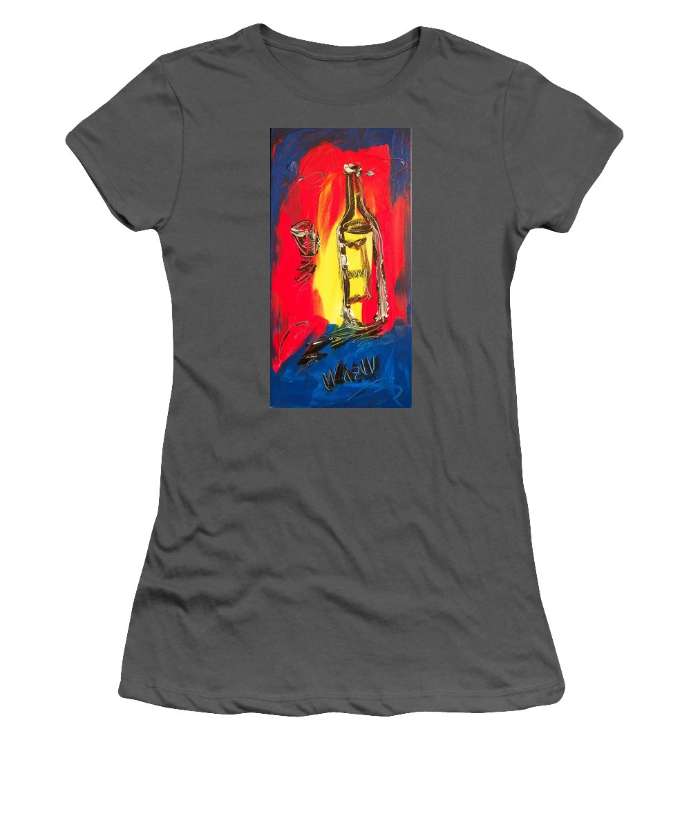 Landscape Framed Prints Women's T-Shirt (Athletic Fit) featuring the painting Wine by Mark Kazav