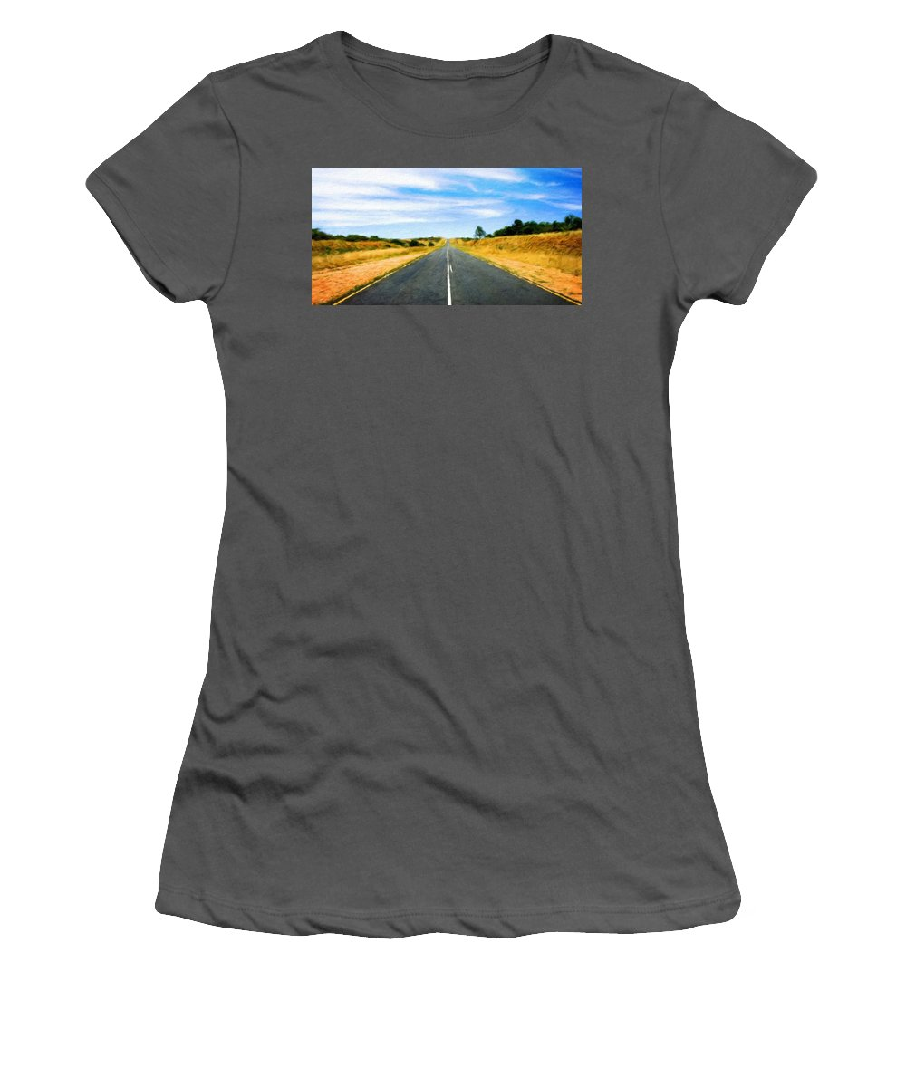 Landscape Women's T-Shirt (Athletic Fit) featuring the painting Nature Oil Paintings Landscapes by World Map