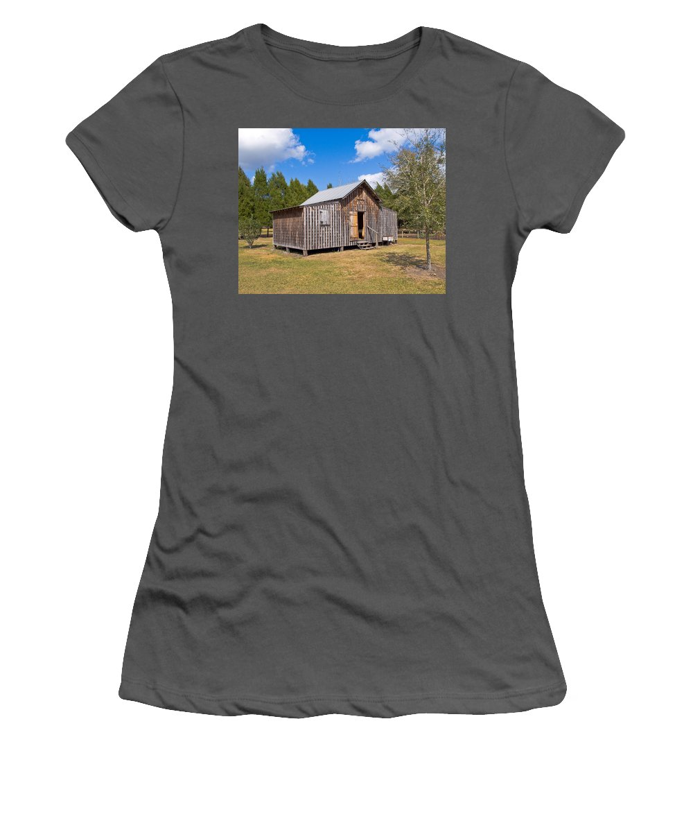 Cabin Women's T-Shirt (Athletic Fit) featuring the photograph 1905 Florida Wheeler Board And Batten House by Allan Hughes