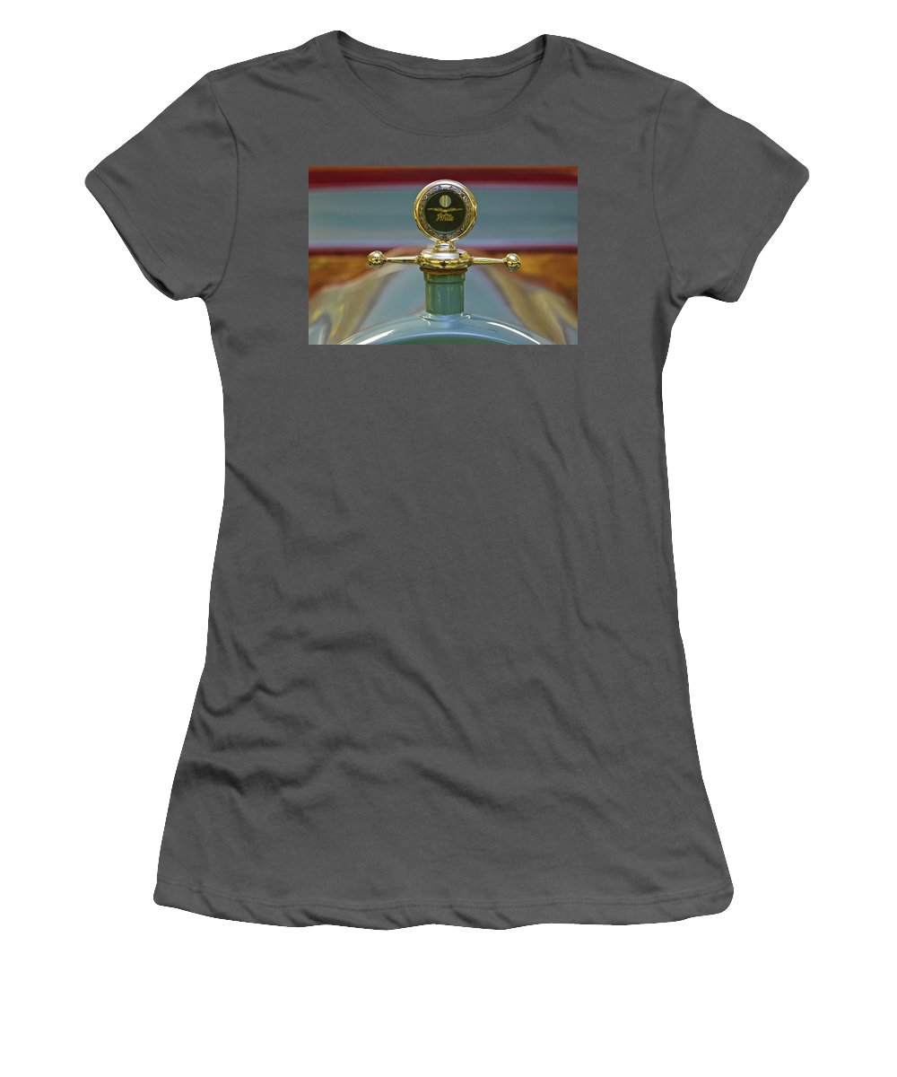 1931 White Gentleman's Roadster Women's T-Shirt (Athletic Fit) featuring the photograph 1913 White Gentleman's Roadster Hood Ornament by Jill Reger