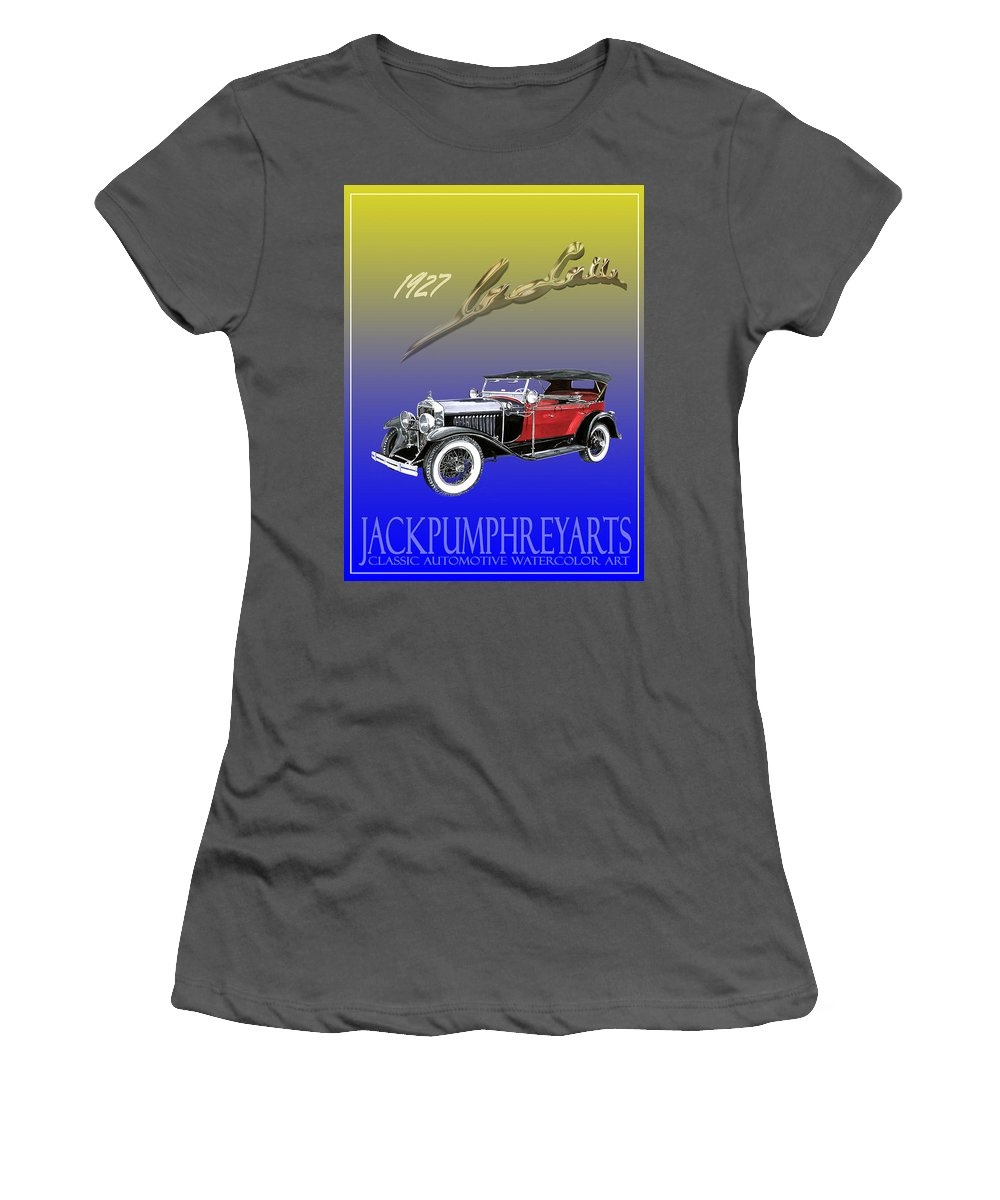 Posters Of Early Classic Luxury Cars From The Nineteen Twentys. Posters Of Classic Automotive Art. Car Posters By Jack Pumphrey Women's T-Shirt (Athletic Fit) featuring the painting 1927 Lasalle by Jack Pumphrey