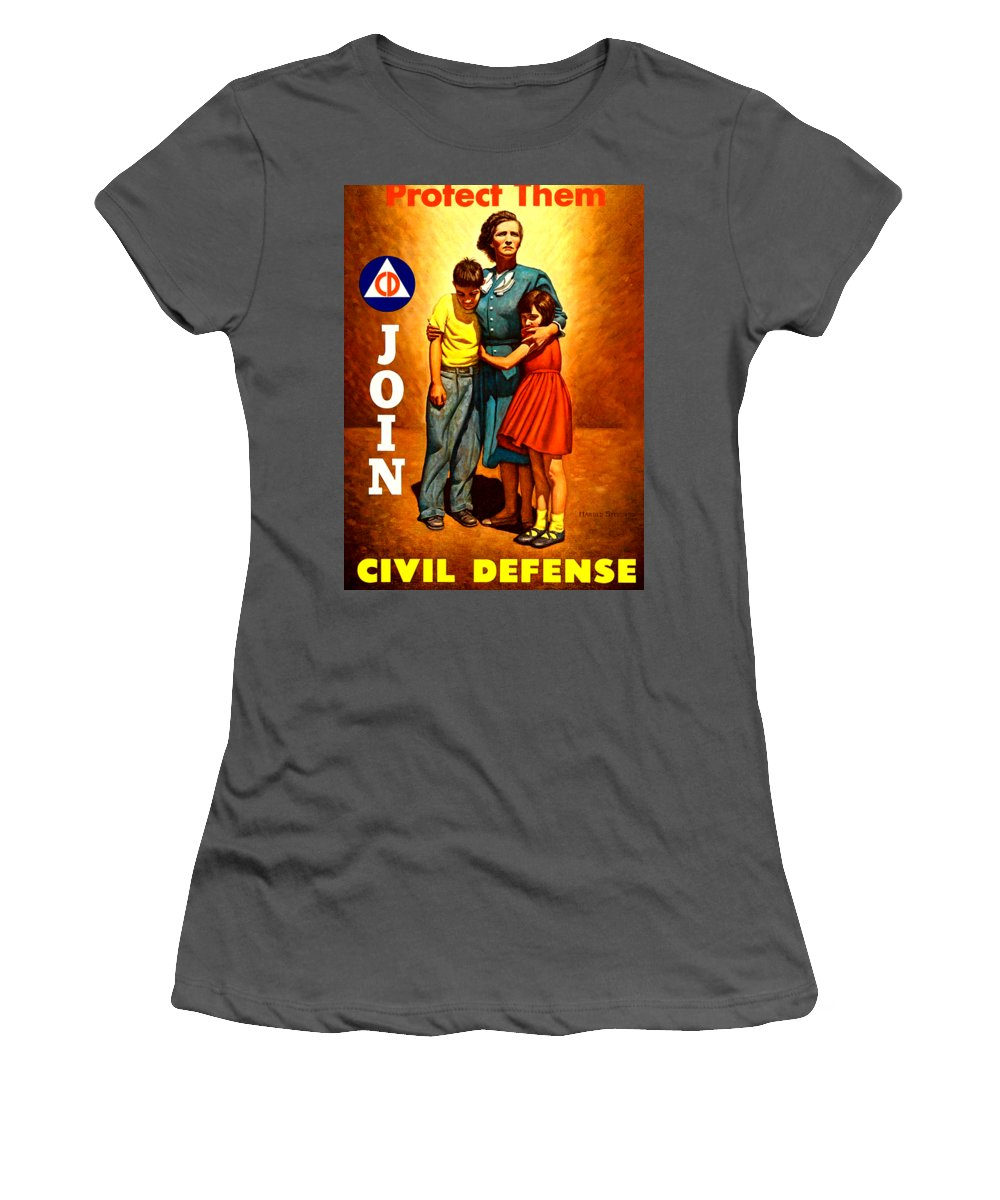 Civil Defense Women's T-Shirt (Athletic Fit) featuring the painting 1942 Civil Defense Poster By Charles Coiner by Peter Gumaer Ogden