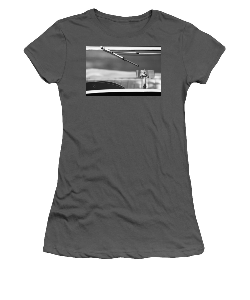 Transportation Car Detail Women's T-Shirt (Athletic Fit) featuring the photograph 1948 Mg Tc Rear View Mirror Black And White by Jill Reger
