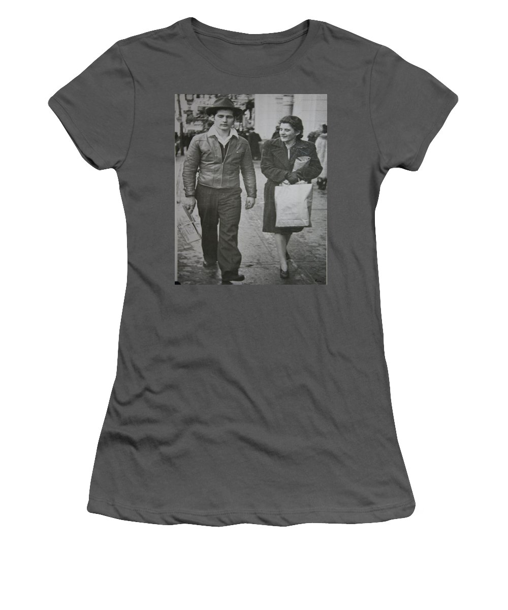 1950 Fashion Black And White Photograph Old Images Classic Women's T-Shirt (Athletic Fit) featuring the photograph 1950s Fashion by Andrea Lawrence