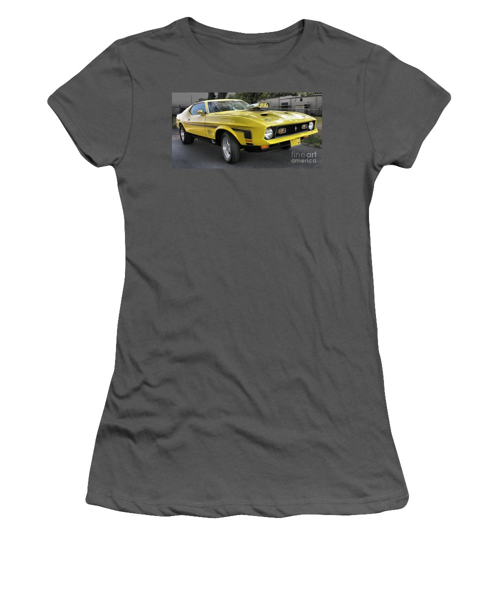 Classic Cars Women's T-Shirt (Athletic Fit) featuring the photograph 1972 Ford Mustang Mach 1 by Richard Rizzo