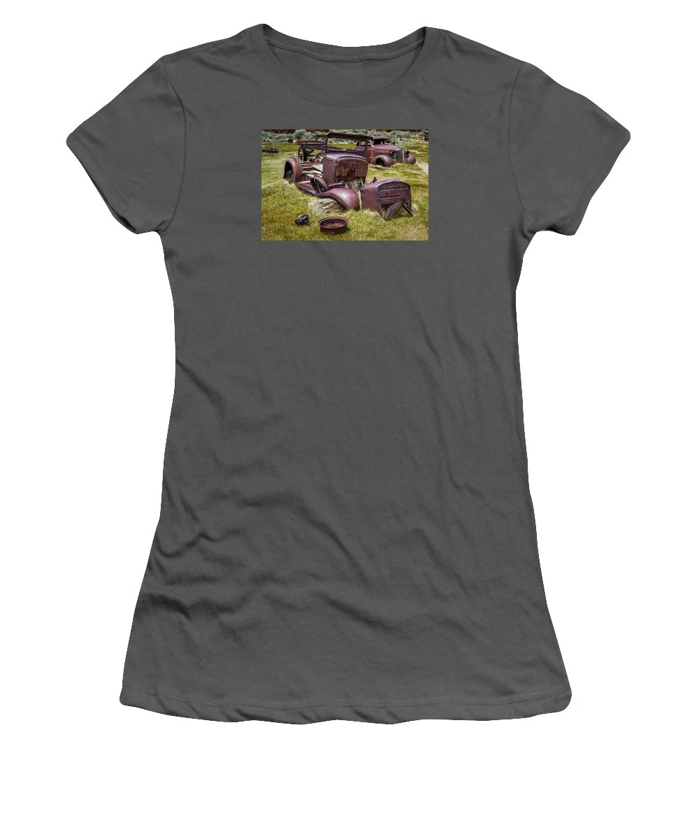 Bodie Women's T-Shirt (Athletic Fit) featuring the photograph Abandoned Cars, Bodie Ghost Town by John Bosma