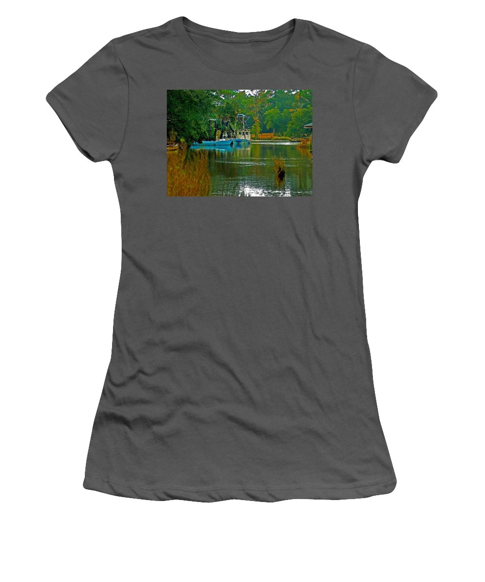 Shrimp Boat Women's T-Shirt (Athletic Fit) featuring the painting 2 Blue Shrimp Boats by Michael Thomas