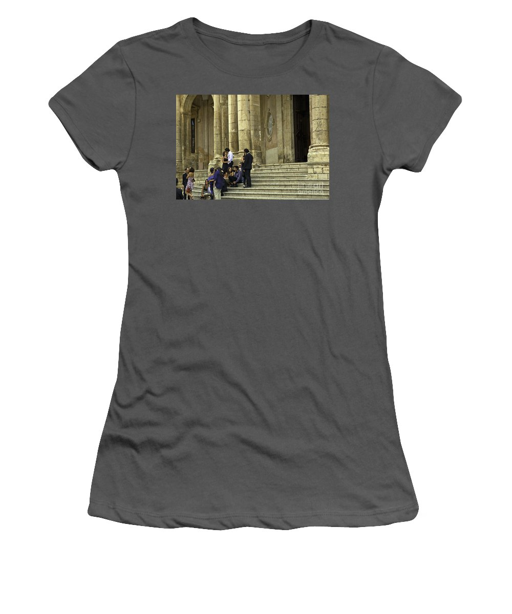Church Women's T-Shirt (Athletic Fit) featuring the photograph Church Step Lovers by Madeline Ellis