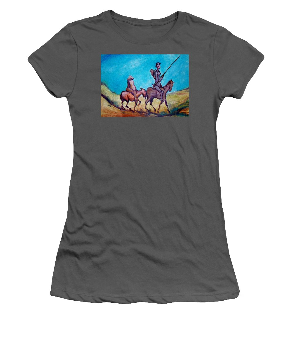 Don Quixote Women's T-Shirt (Athletic Fit) featuring the painting Don Quixote by Kevin Middleton