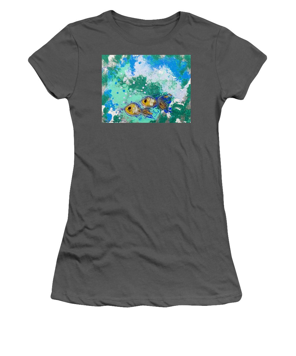 Fish Women's T-Shirt (Athletic Fit) featuring the painting 2 Fish by Gina De Gorna