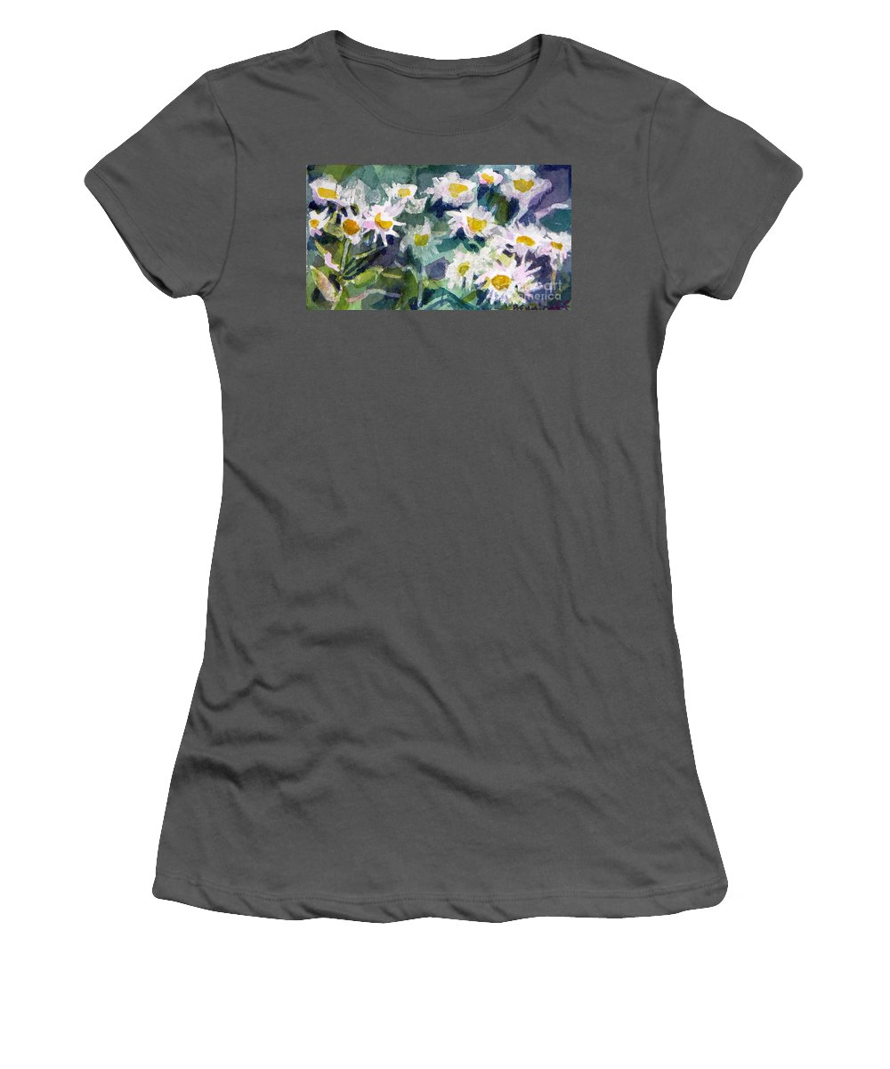 Flowers Women's T-Shirt (Athletic Fit) featuring the painting Little Asters by Jan Bennicoff