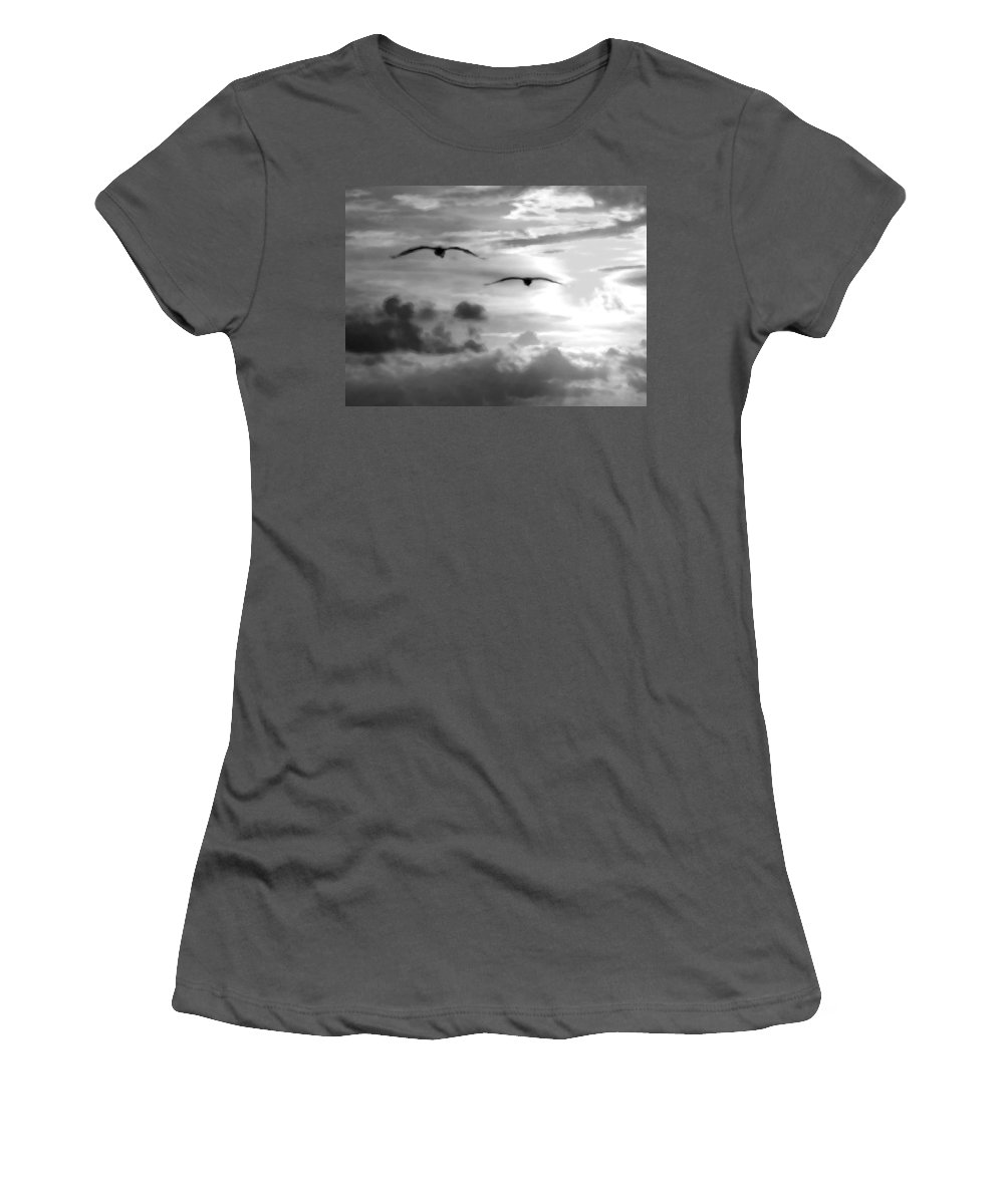 Pelican Women's T-Shirt (Athletic Fit) featuring the digital art 2 Pelicans Flying Into The Clouds by Michael Thomas