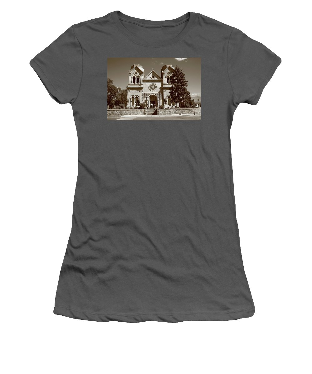 America Women's T-Shirt (Athletic Fit) featuring the photograph Santa Fe - Basilica Of St. Francis Of Assisi by Frank Romeo