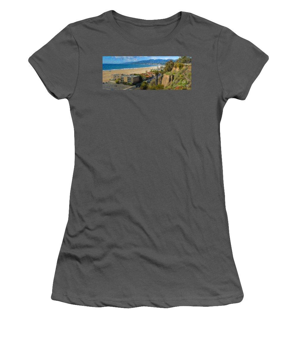 Santa Monica Ca Steps Palisades Park Bluffs Women's T-Shirt (Athletic Fit) featuring the photograph Santa Monica Ca Steps Palisades Park Bluffs by David Zanzinger