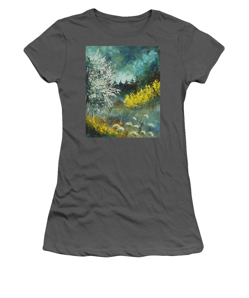 Spring Women's T-Shirt (Athletic Fit) featuring the painting Spring by Pol Ledent