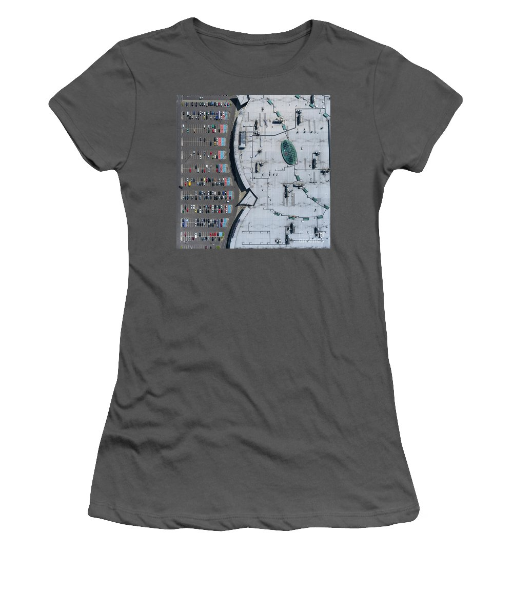 Above Women's T-Shirt (Athletic Fit) featuring the photograph Supermarket Roof And Many Cars In Parking, Viewed From Above. by Mariusz Prusaczyk