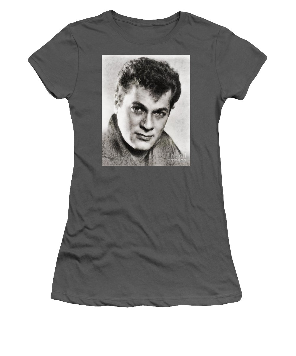 Hollywood Women's T-Shirt (Athletic Fit) featuring the painting Tony Curtis, Vintage Hollywood Legend by John Springfield
