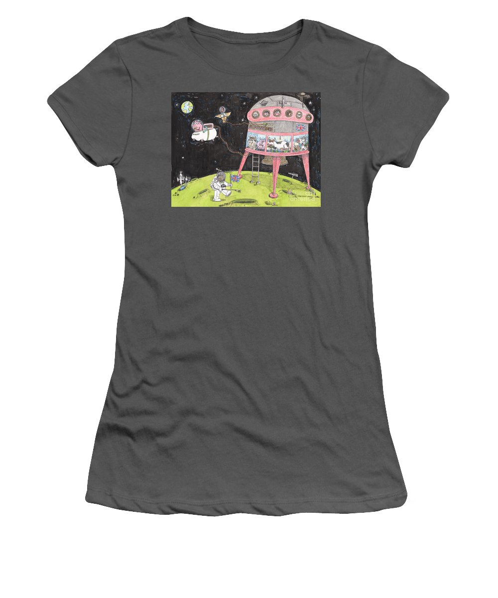 Pigs In Space Women's T-Shirt (Athletic Fit) featuring the painting 2001 A Swine Odyssey by Steve Royce Griffin