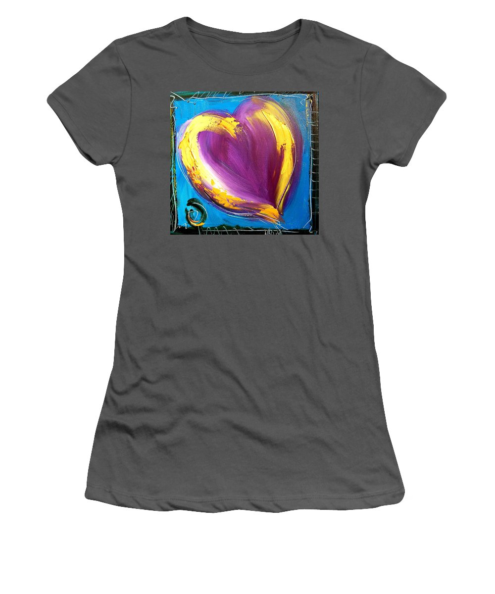 Landscape Framed Prints Women's T-Shirt (Athletic Fit) featuring the painting Heart by Mark Kazav