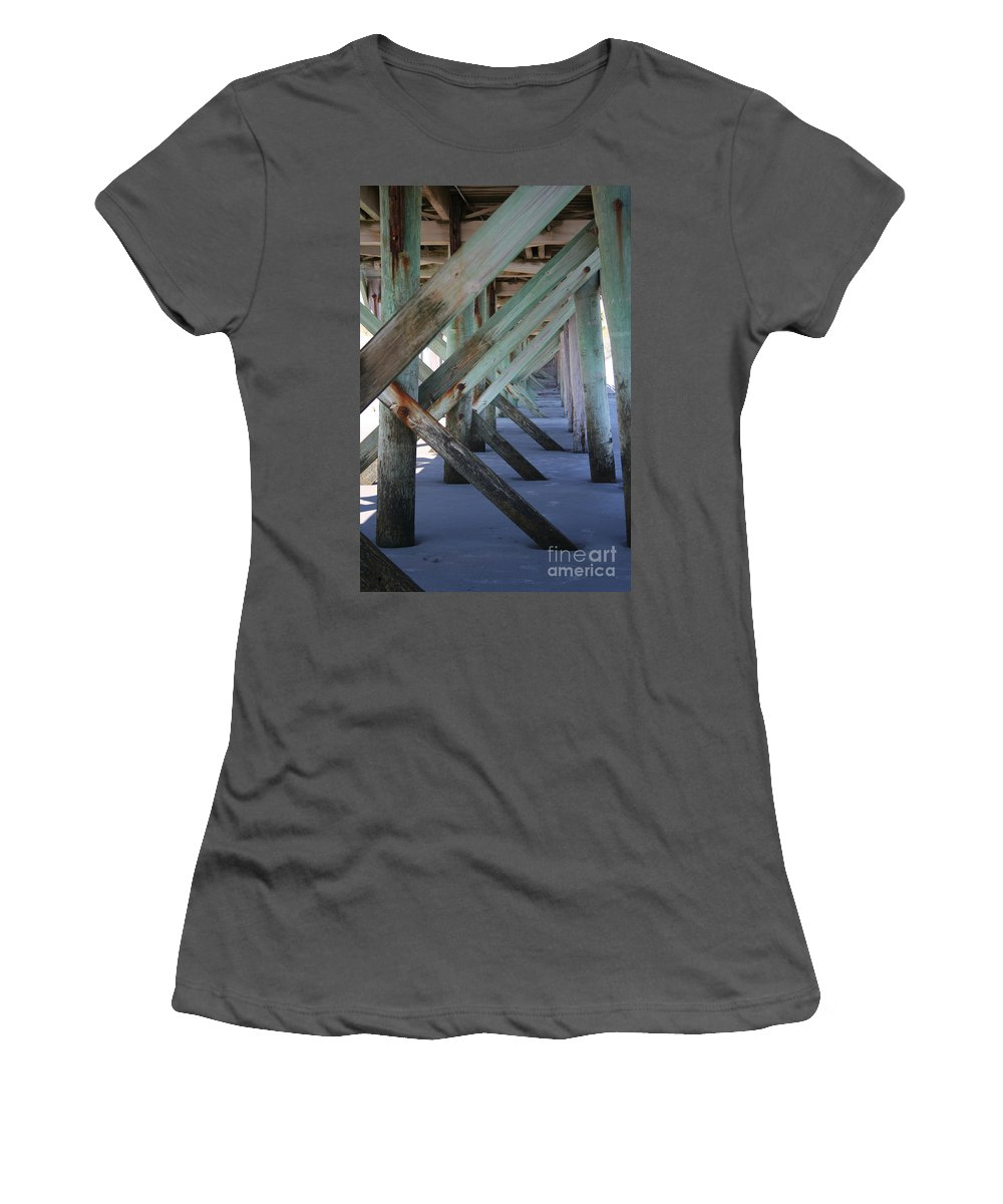 Beach Women's T-Shirt (Athletic Fit) featuring the photograph Beneath The Docks by Jamie Lynn