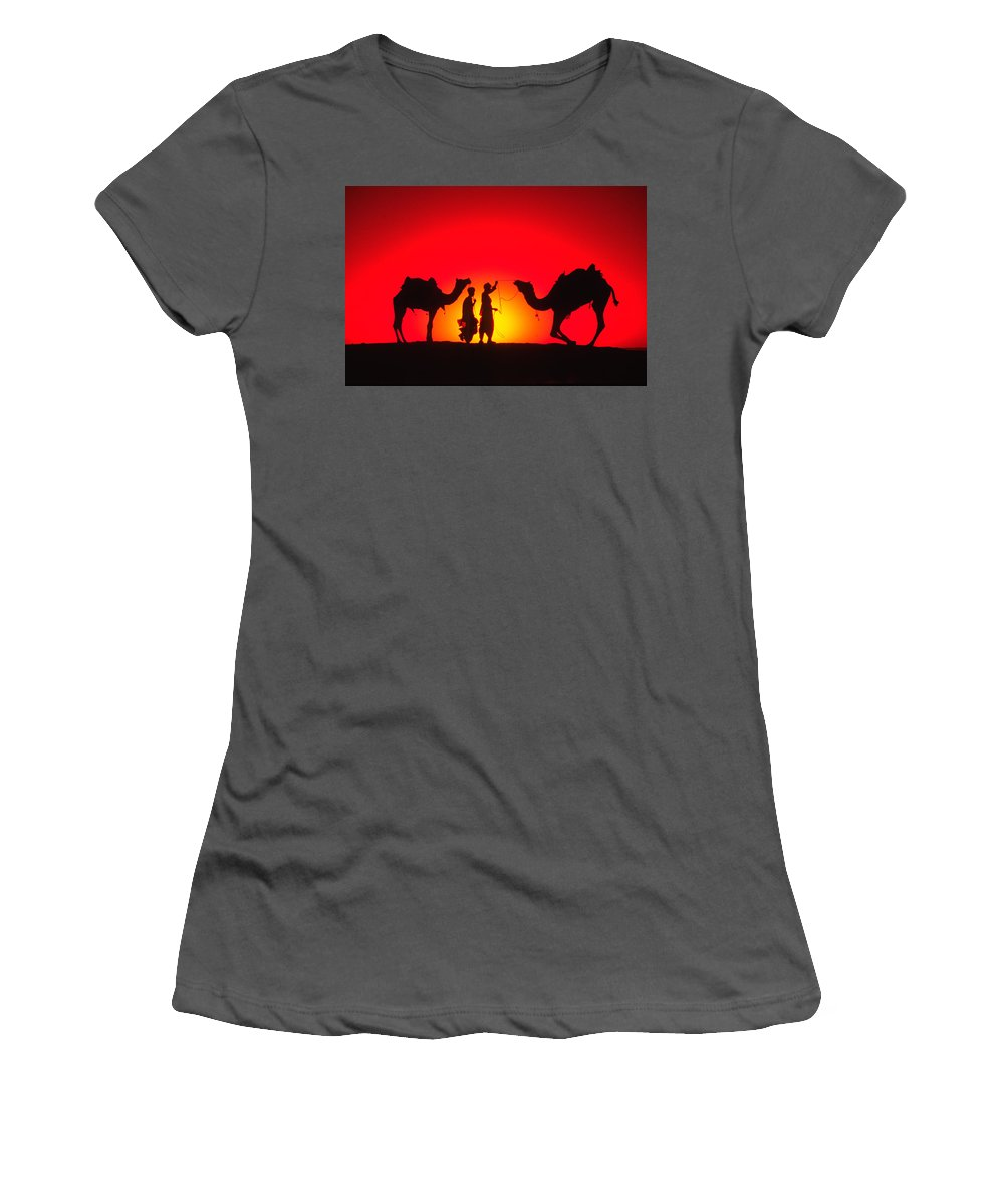 India Women's T-Shirt (Athletic Fit) featuring the photograph Camels At Sunset by Michele Burgess