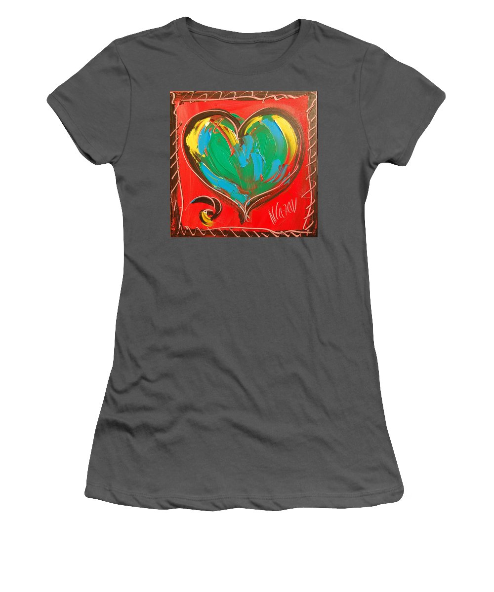 Hearts Women's T-Shirt (Athletic Fit) featuring the painting Heart by Mark Kazav