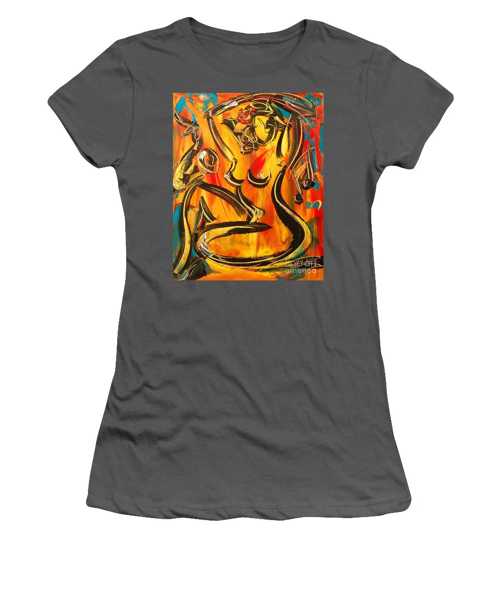 Nude Women's T-Shirt (Athletic Fit) featuring the painting Nude by Mark Kazav