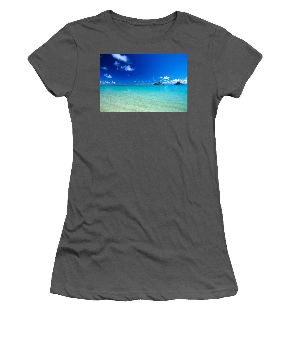 Beautiful Women's T-Shirt (Athletic Fit) featuring the photograph Oahu, Lanikai Beach by Dana Edmunds - Printscapes