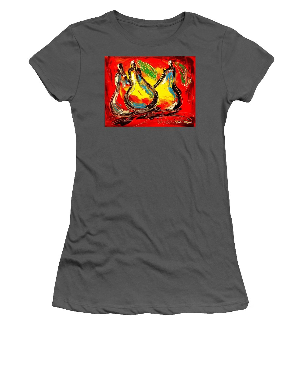 Newyork Women's T-Shirt (Athletic Fit) featuring the painting Pears by Mark Kazav
