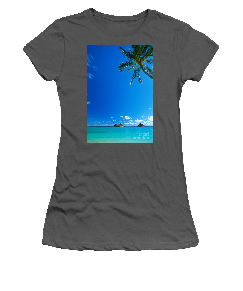 Blue Women's T-Shirt (Athletic Fit) featuring the photograph Oahu, Lanikai Beach by Dana Edmunds - Printscapes