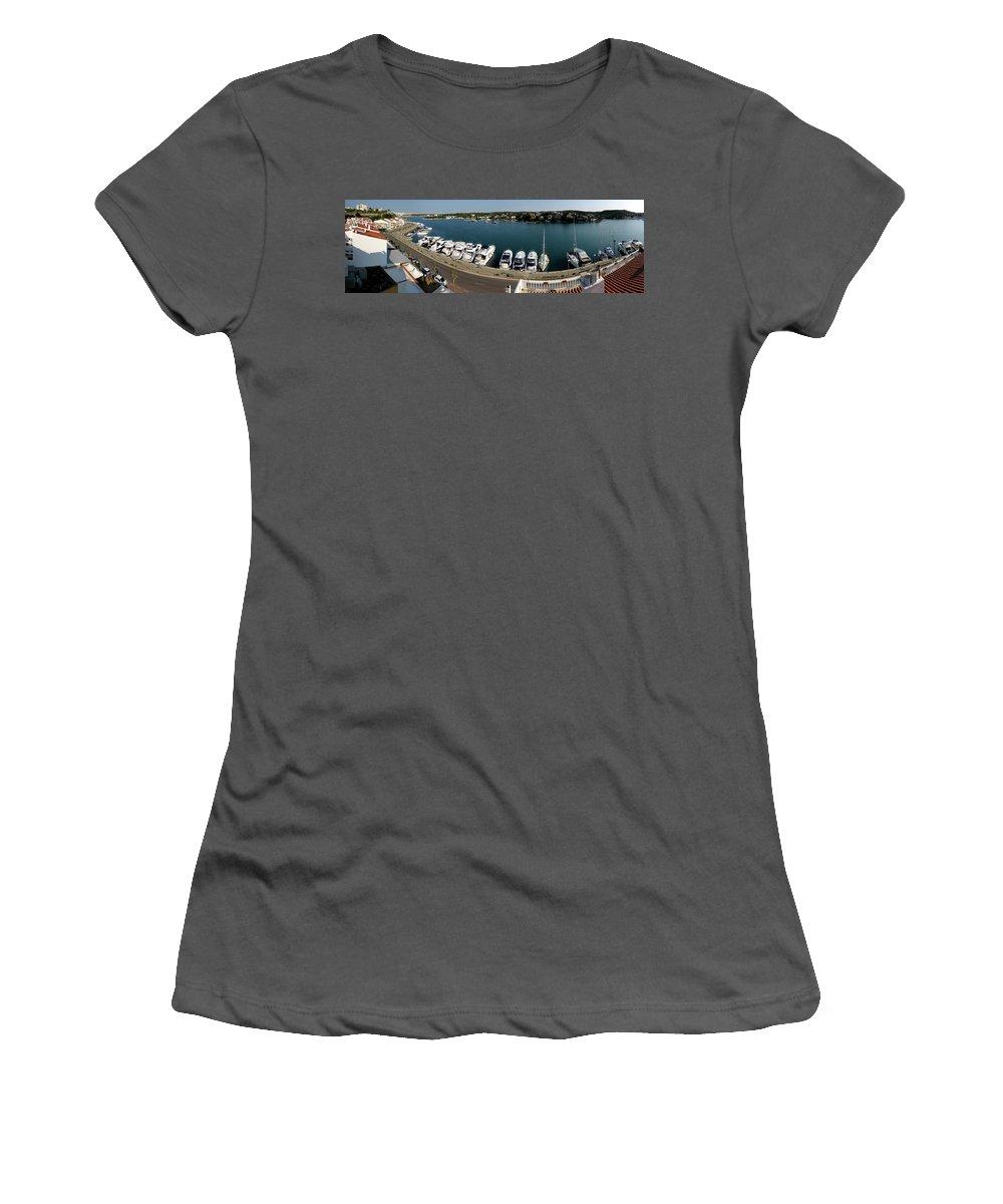 Mao Women's T-Shirt (Athletic Fit) featuring the photograph panoramic town 1 - Panorama of Port Mahon Menorca by Pedro Cardona Llambias