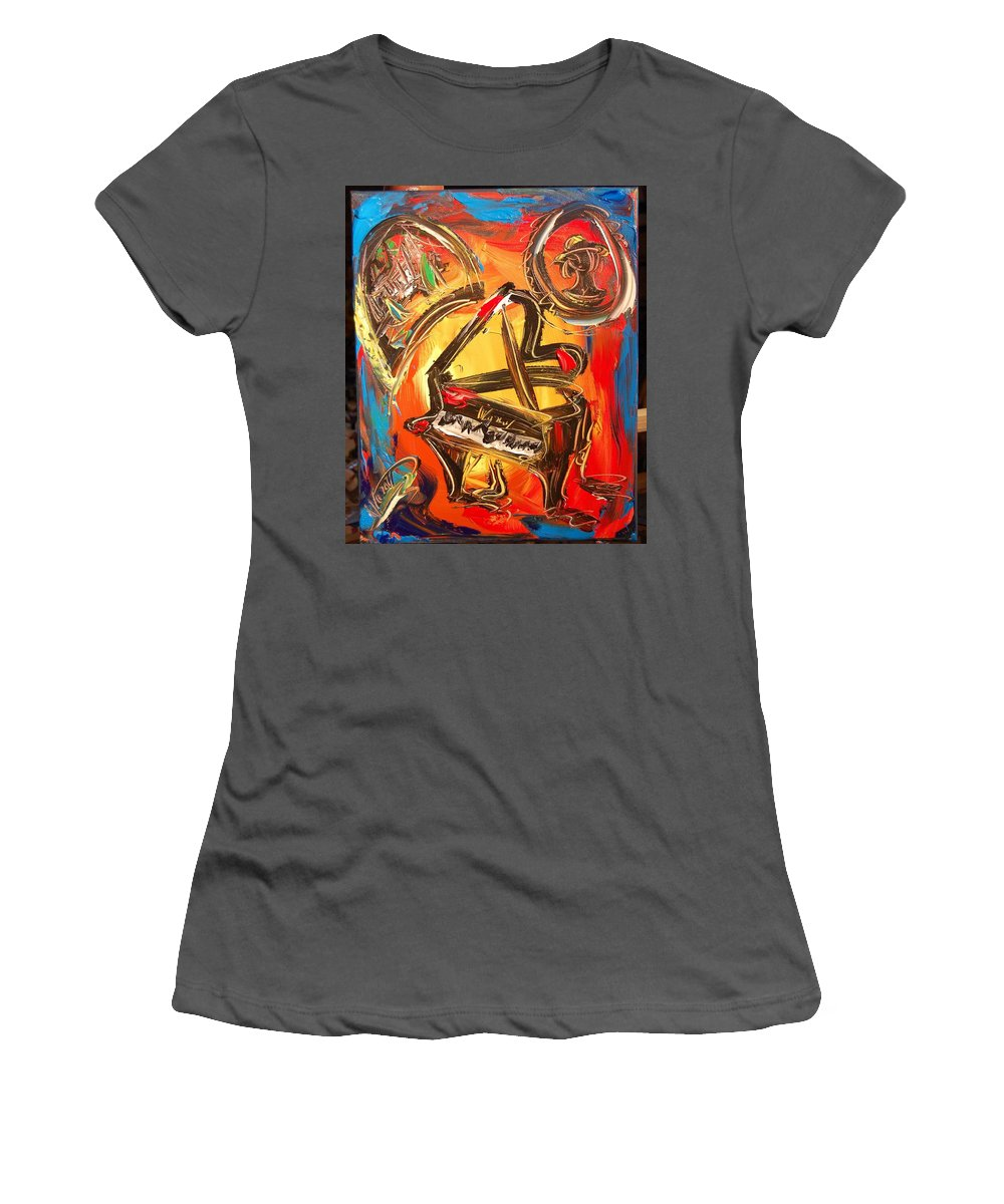 Landscape Framed Prints Women's T-Shirt (Athletic Fit) featuring the painting Piano by Mark Kazav