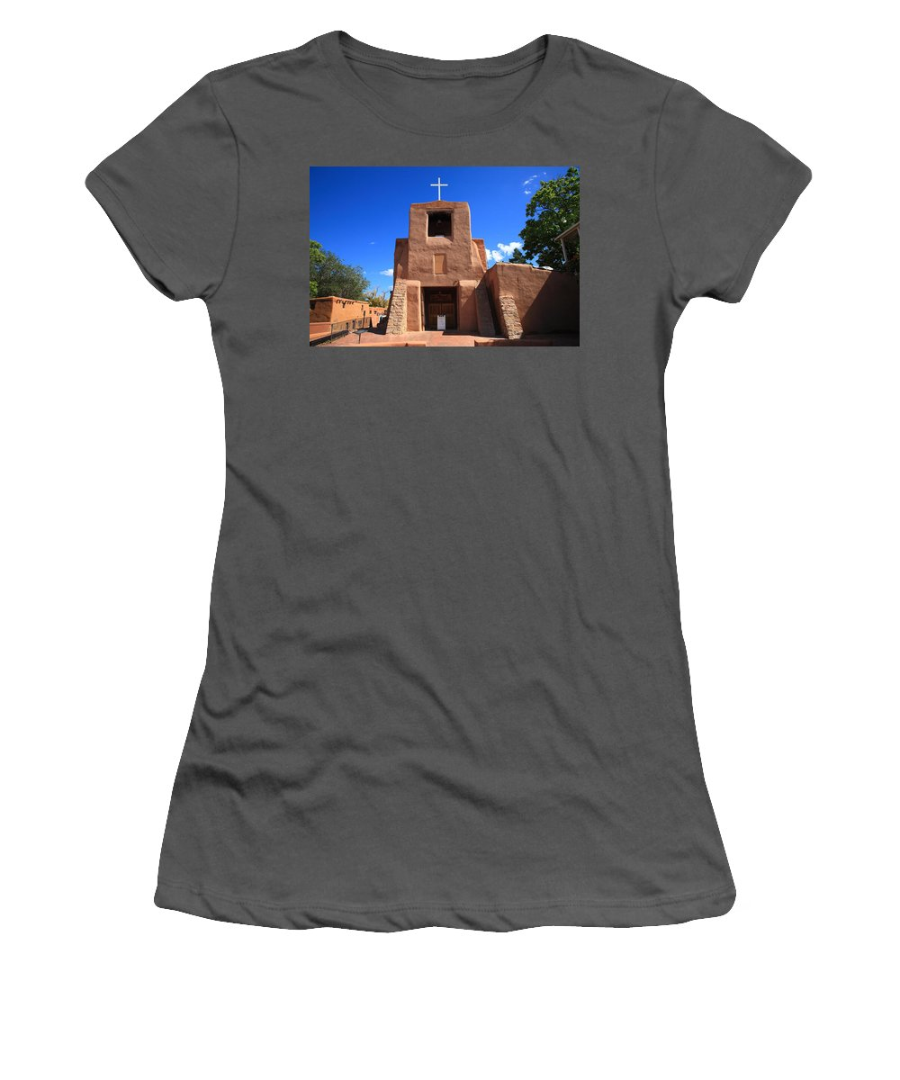 66 Women's T-Shirt (Athletic Fit) featuring the photograph Santa Fe - San Miguel Chapel by Frank Romeo