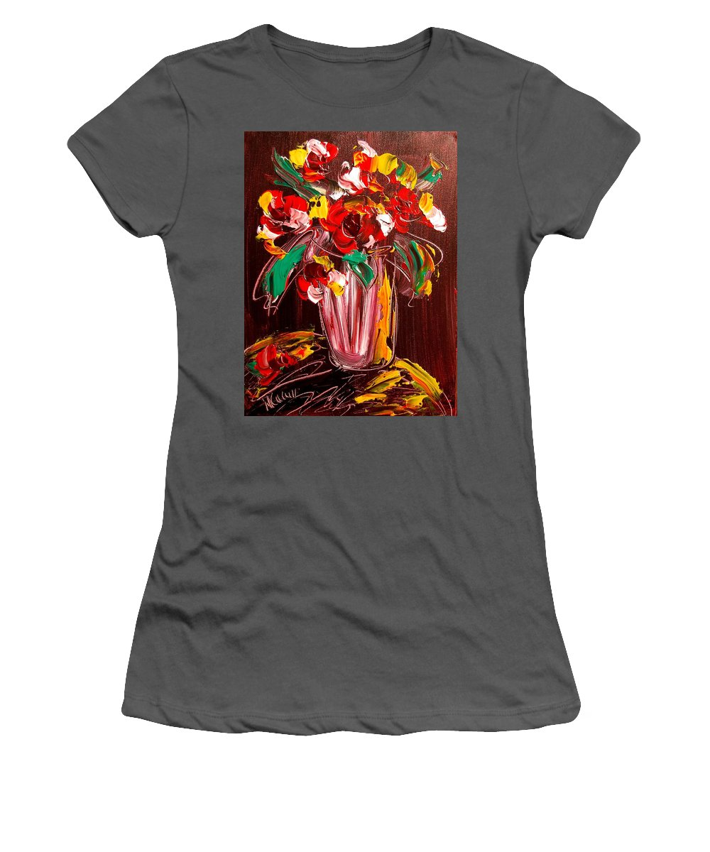 Surreal Framed Prints Women's T-Shirt (Athletic Fit) featuring the painting Flowers by Mark Kazav