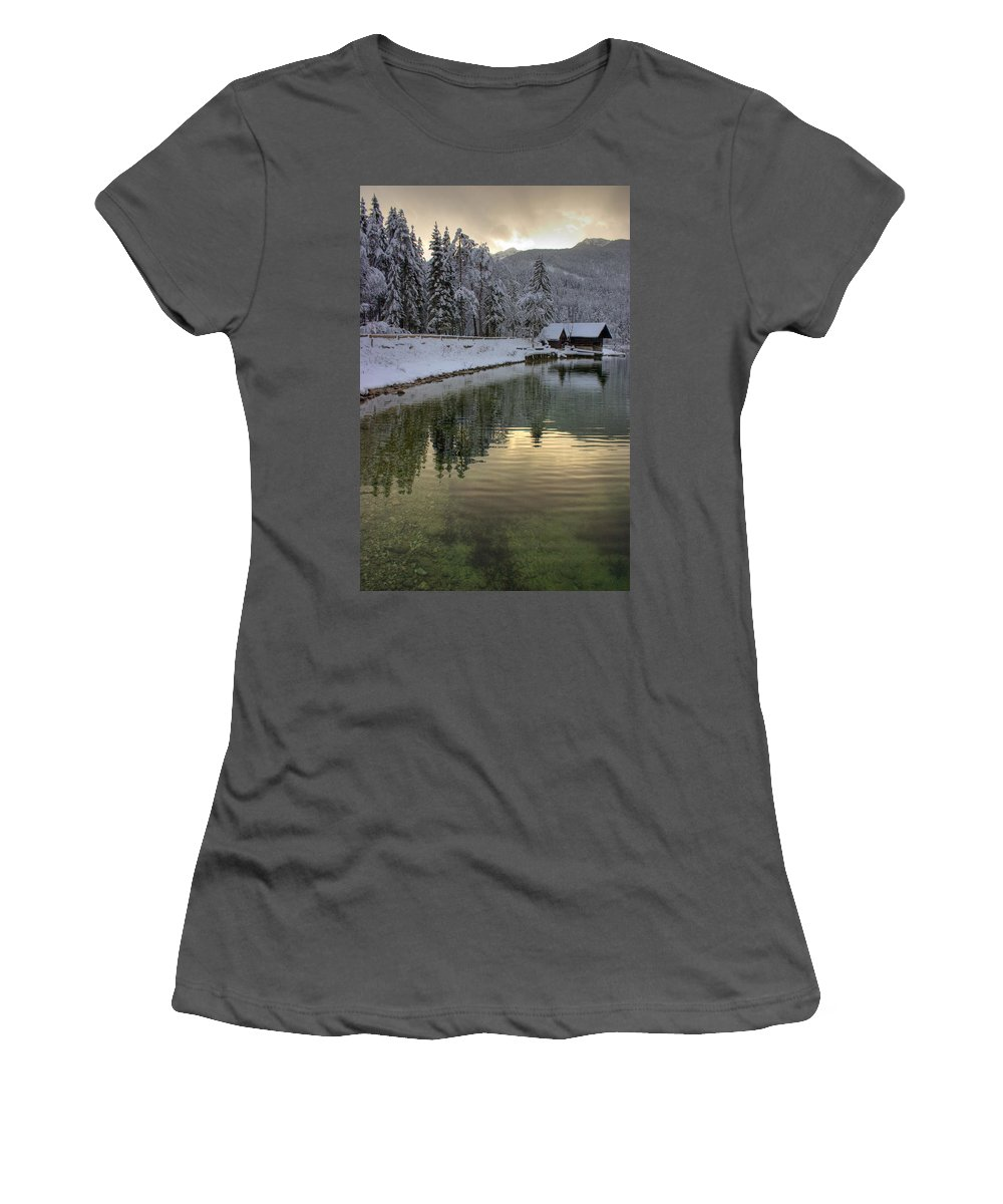 Winter Women's T-Shirt (Athletic Fit) featuring the photograph Alpine Winter Reflections by Ian Middleton