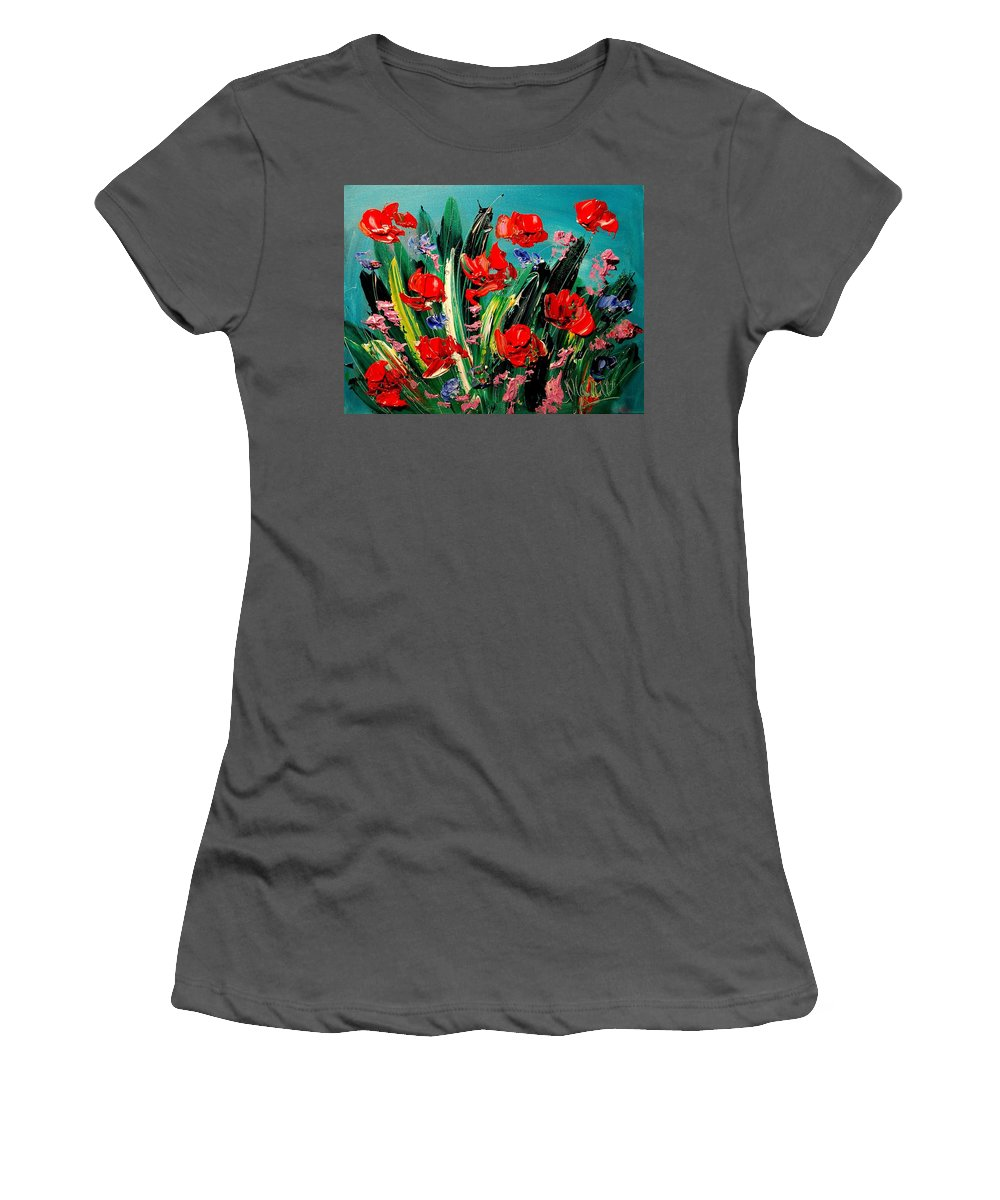 Newyork Women's T-Shirt (Athletic Fit) featuring the painting Poppies by Mark Kazav