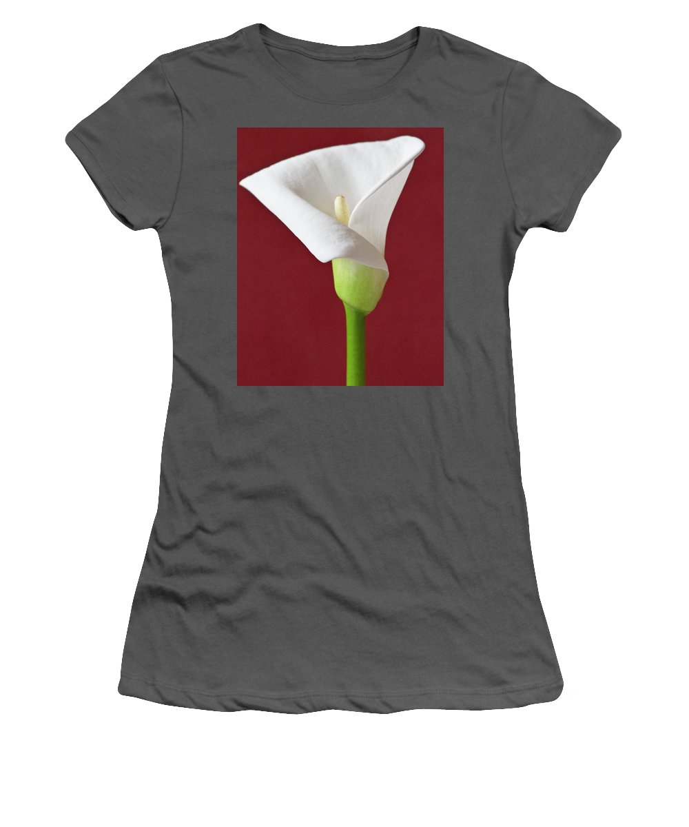 Calla Women's T-Shirt (Athletic Fit) featuring the photograph White Calla by Heiko Koehrer-Wagner