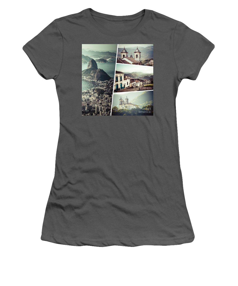 Rio Women's T-Shirt (Athletic Fit) featuring the photograph Collage Of Rio De Janeiro by Mariusz Prusaczyk