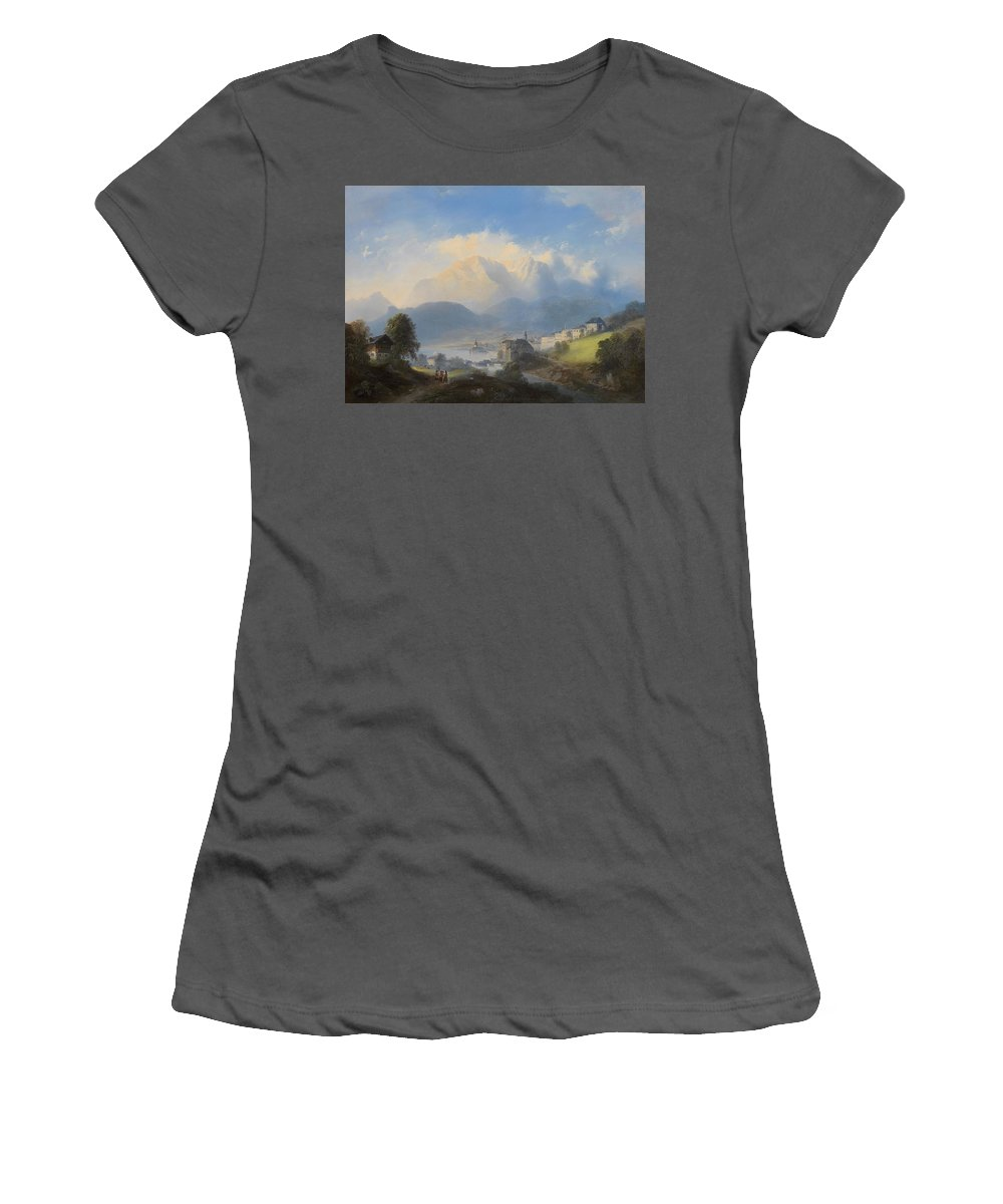 Manner Of Canaletto (venetian Women's T-Shirt (Athletic Fit) featuring the painting Landscape by MotionAge Designs